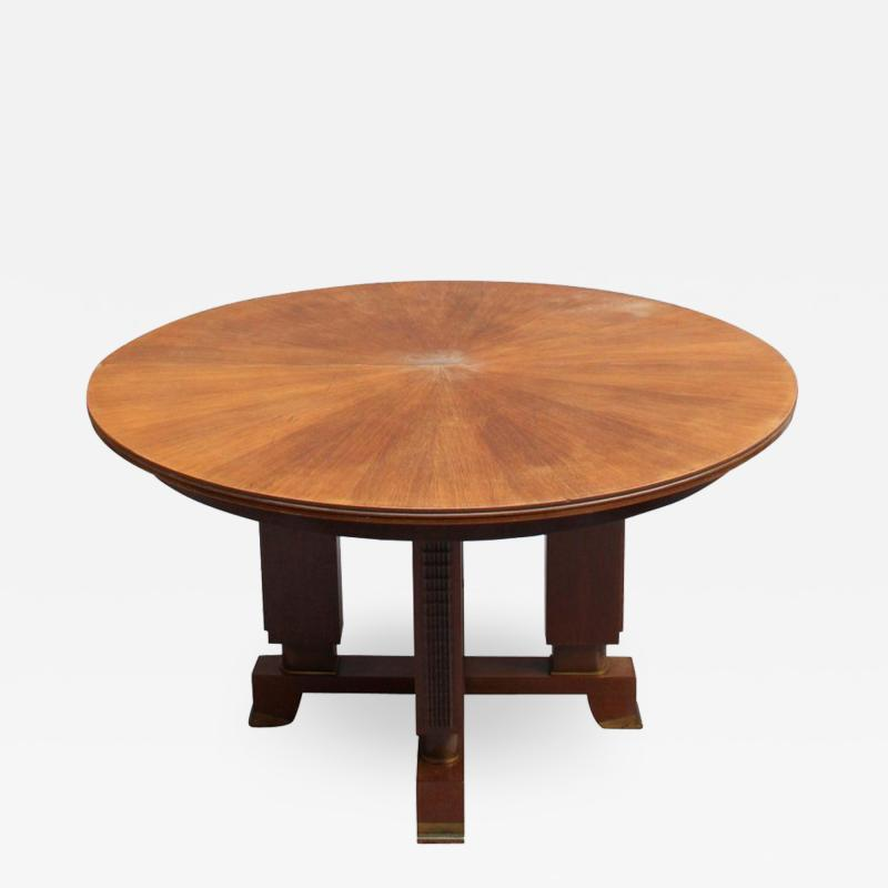 Jules Leleu FINE FRENCH ART DECO EXTENDABLE ROUND DINING TABLE BY JULES LELEU