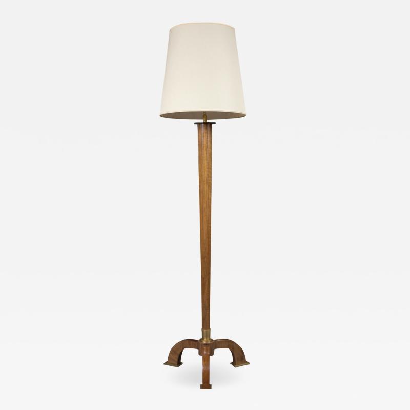 Jules Leleu French Art Deco Rosewood Floor Lamp by Jules Leleu
