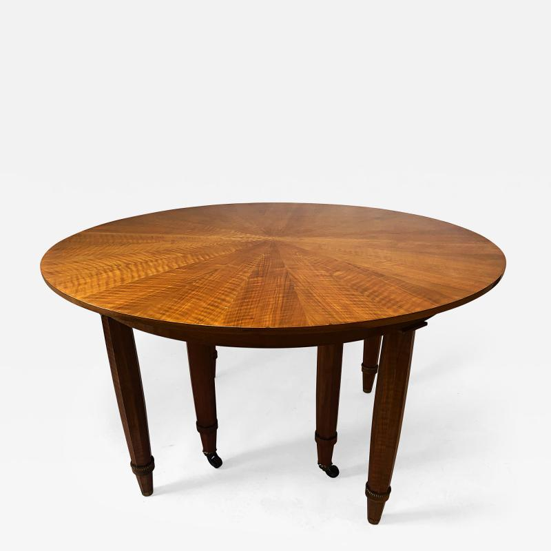 Jules Leleu Important French Modern Fruitwood Bronze Extension Dining Table Jules Leleu