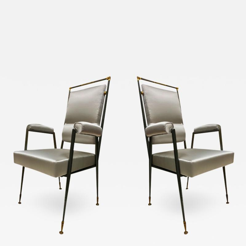 Jules Leleu Jules Leleu documented extreme refinement pair of chairs in bronze and silk