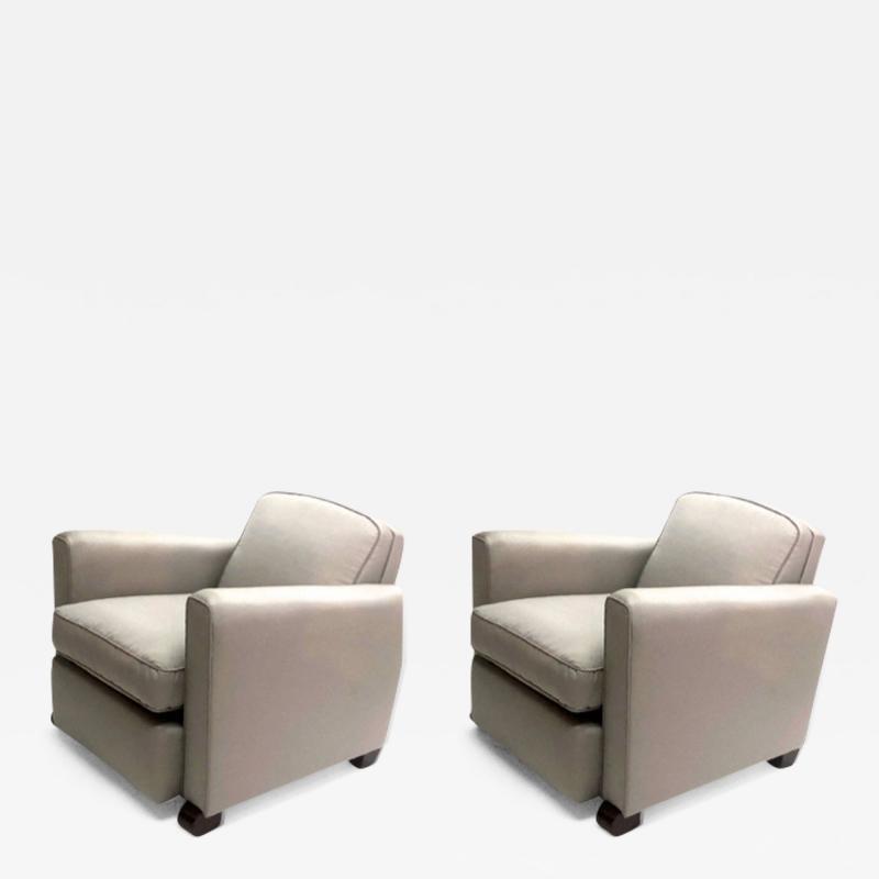 Jules Leleu Jules Leleu pair of refined club chairs fully restored