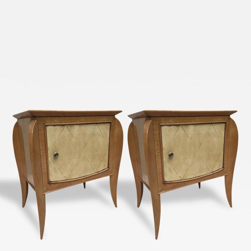 Jules Leleu Pair of French Parchment Sycamore End Tables or Nightstands Jules Leleu Style
