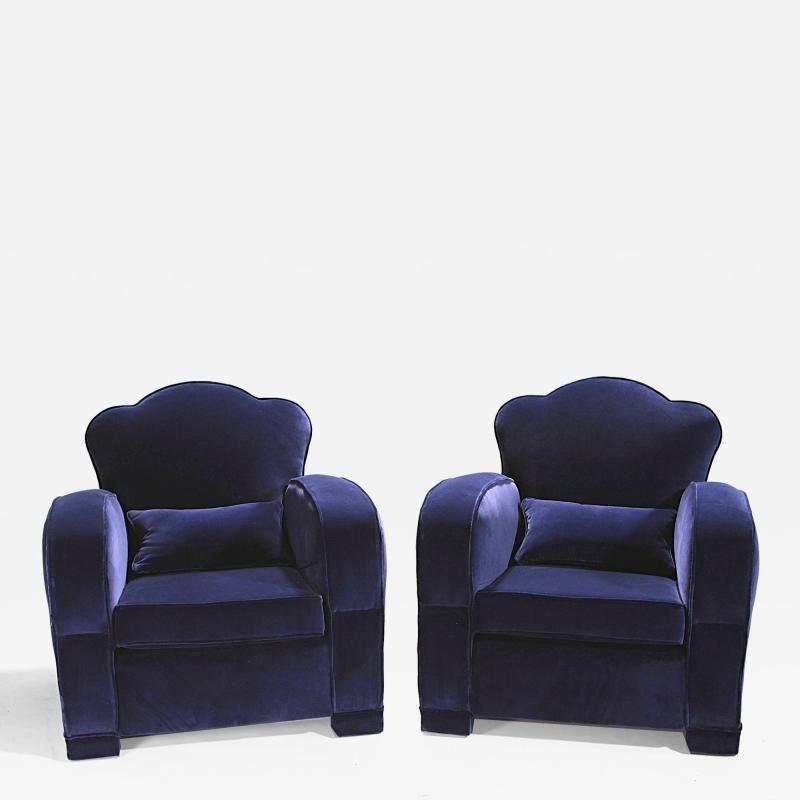 Jules Leleu Pair of french art deco velvet club armchairs 1940s