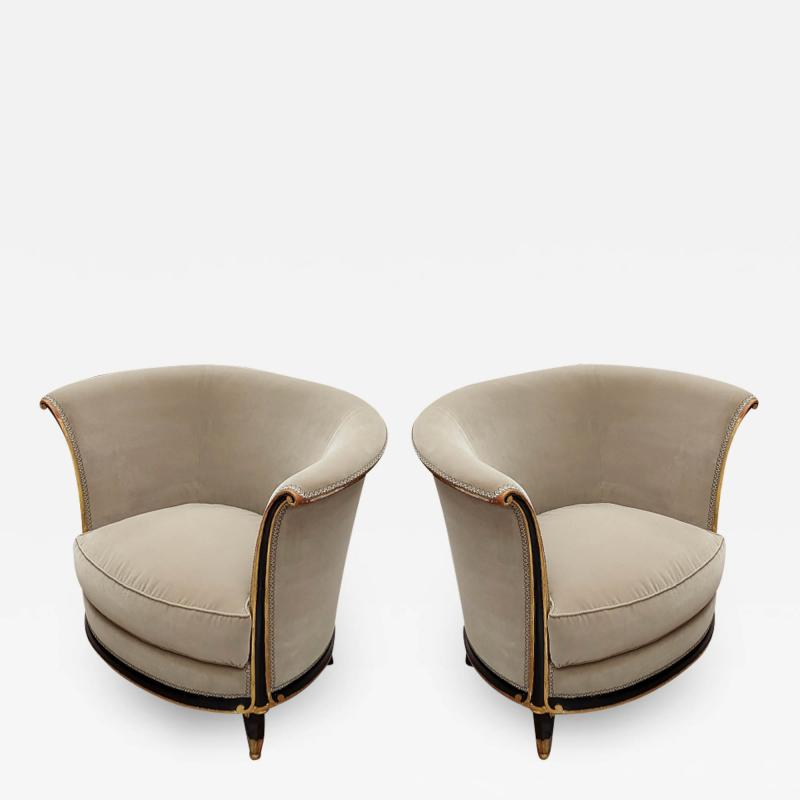 Jules Leleu rarest documented early Art Deco refined pair of chairs
