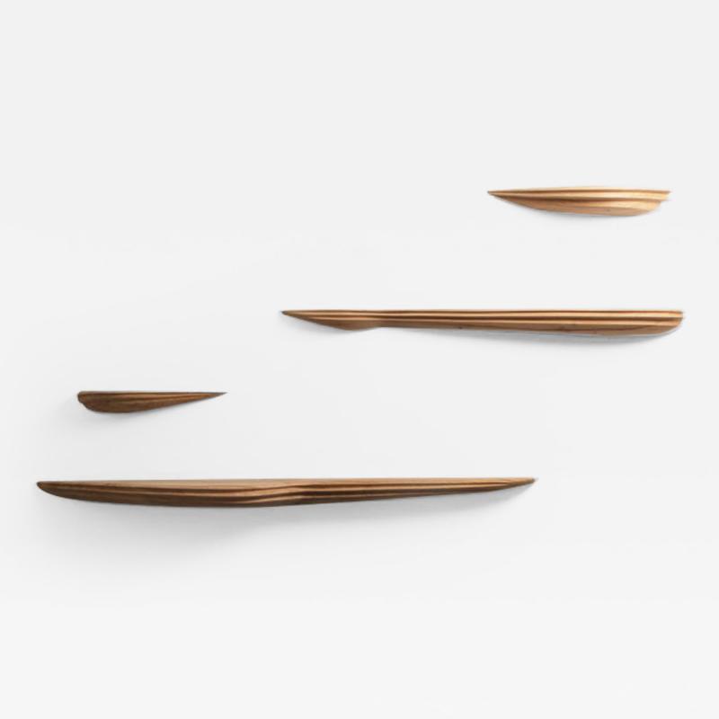 Jules Lobgeois Sculpted Oak Shelves by Jules Lobgeois