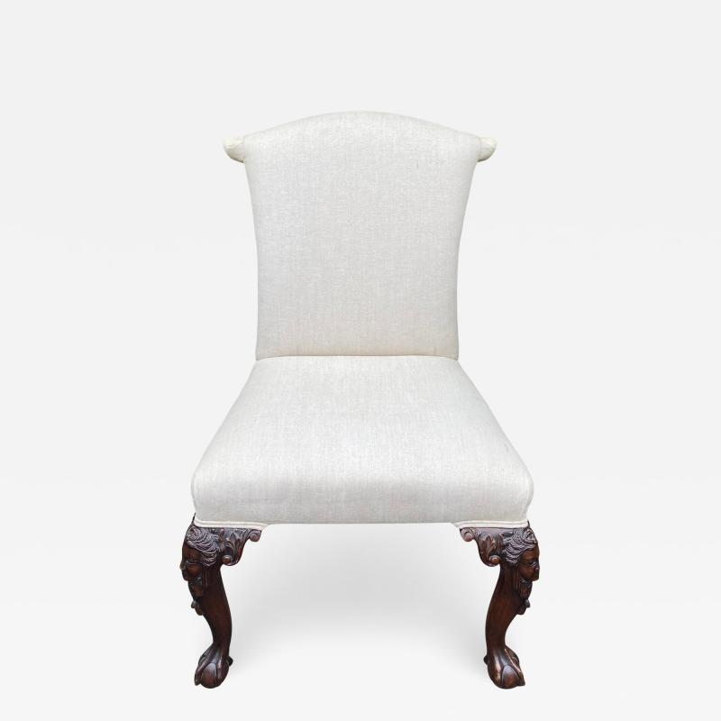 Julian Chichester Chippendale Style Carved Mahogany Ball Claw Side Chair W Faces