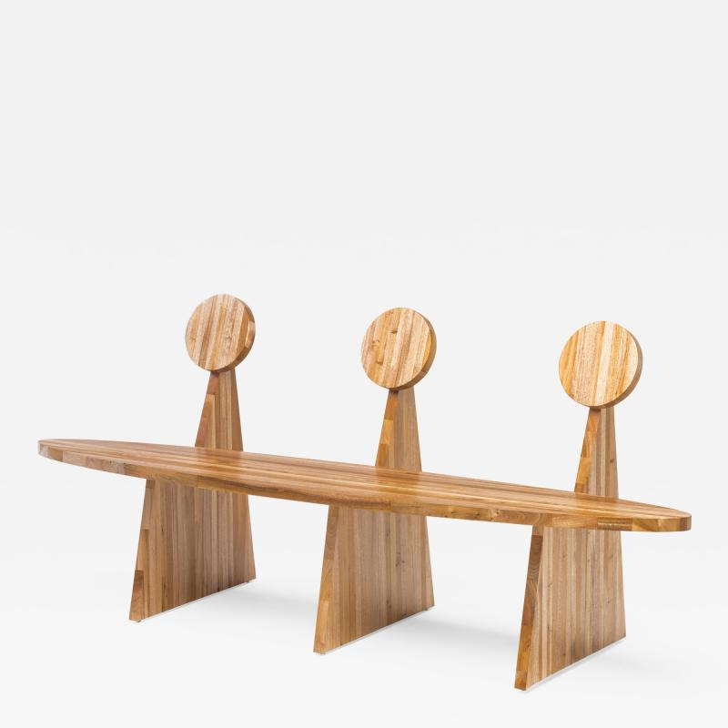Juliana Lima Vasconcellos Contemporary Trio Bench in Solid African Mahogany Wood Panels Brazilian Design