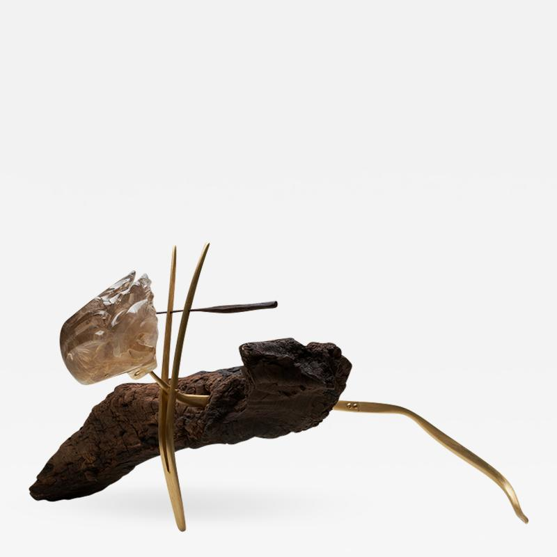 Julio Mart nez Barnetche THE LIZARD LA IGUANA sculpture rutilated Quartz Brass Wood