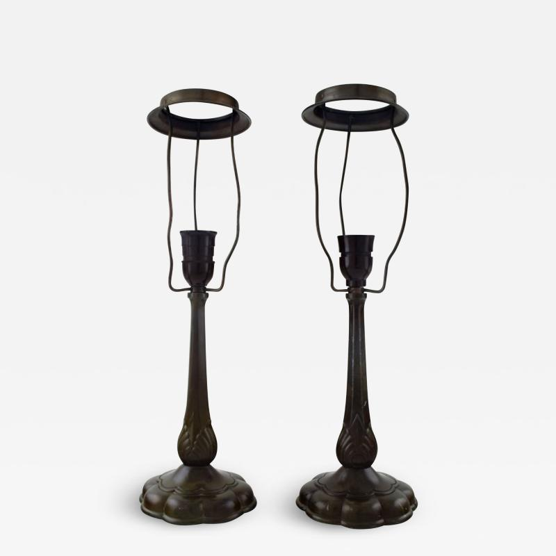 Just Andersen A pair of table lamps in patinated disko metal