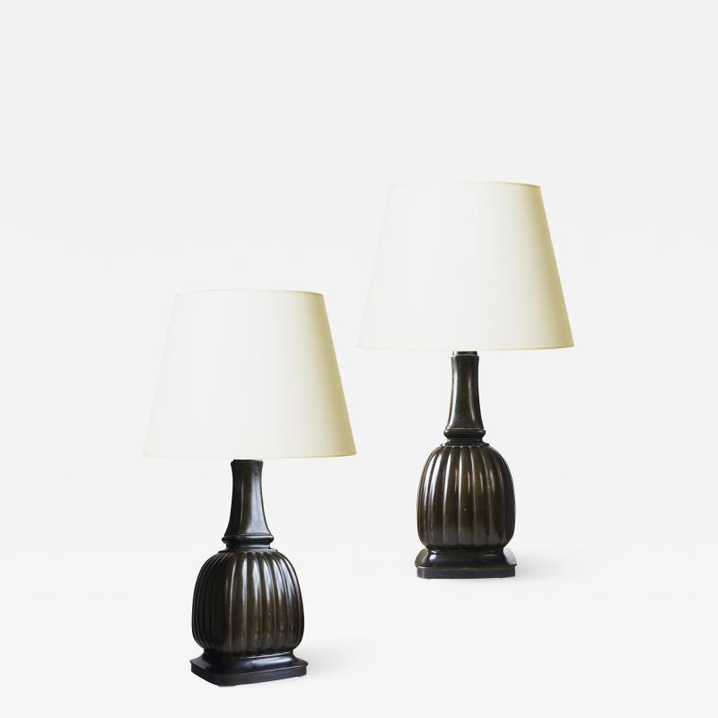Just Andersen Pair of Art Nouveau Table Lamps in Disko by Just Andersen
