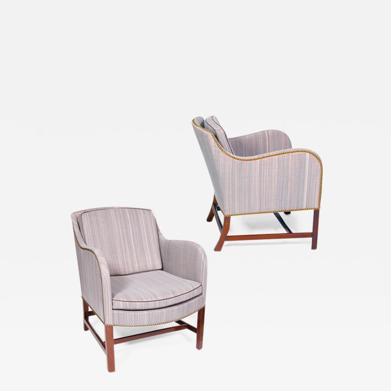 Kaare Klint Classically Chic Pair of Mix Armchairs by Kaare Klint in Striae Horsehair