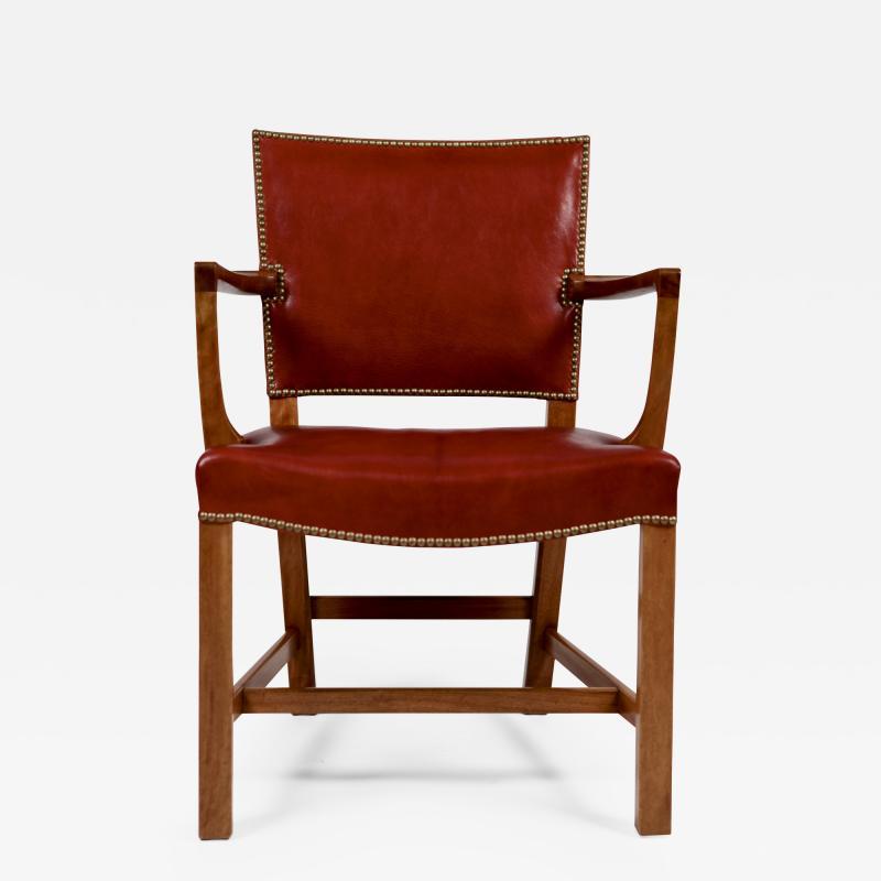Kaare Klint Kaare Klint Barcelona Armchair Red Leather Cuban Mahogany Denmark 1950s