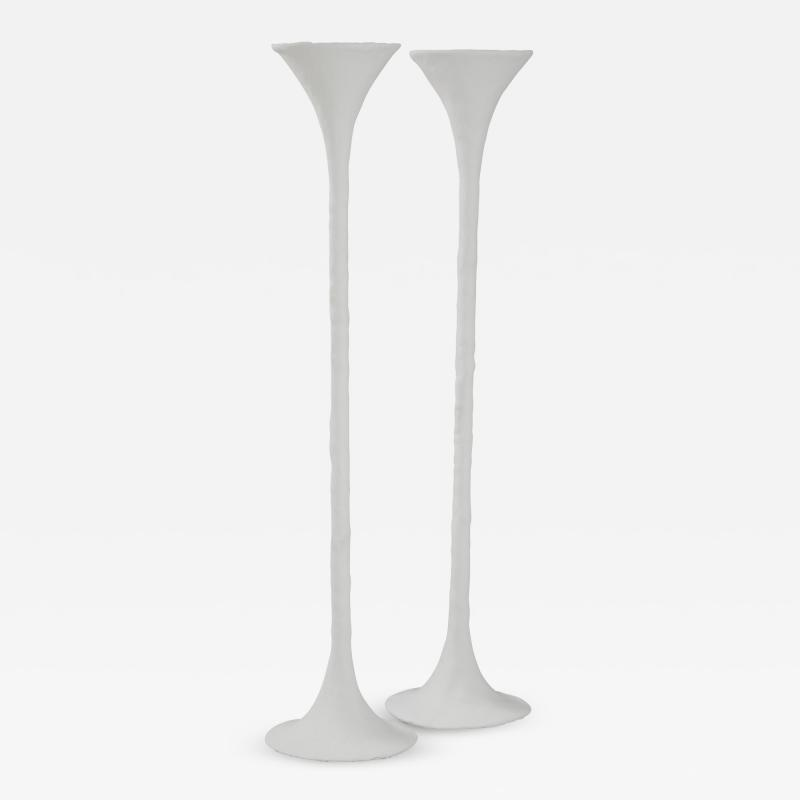 Kacper Dolatowski White Plaster Torchiere Lamp by Kasper Dolatowski