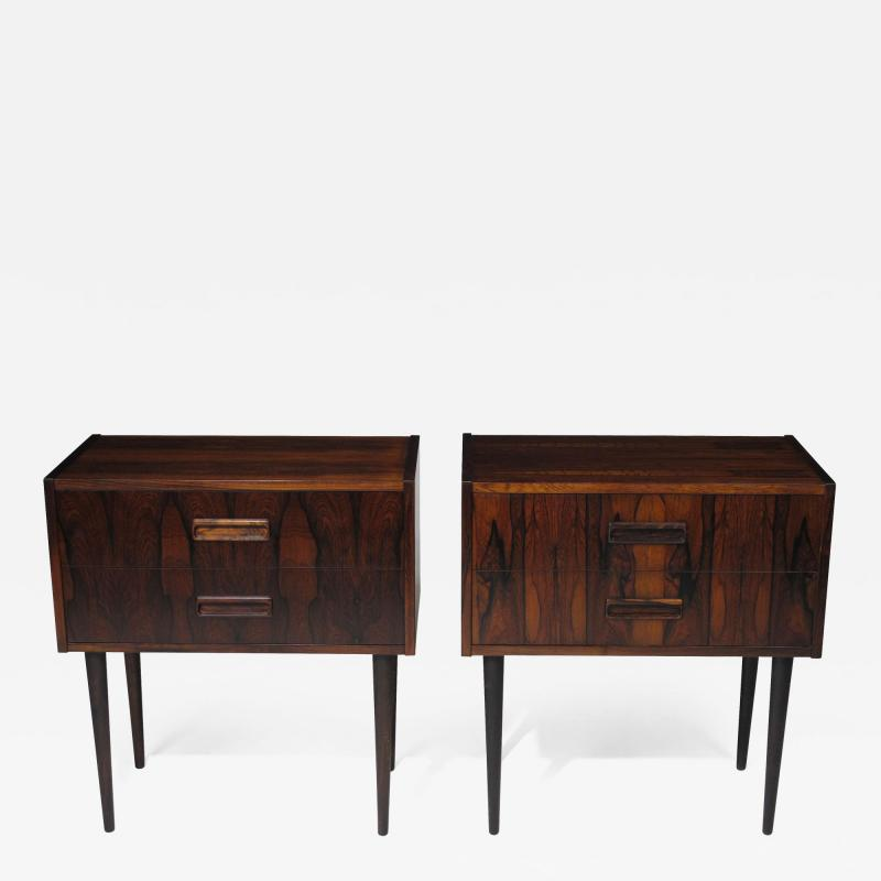 Kai Kristiansen Danish Rosewood Nightstand Bedside Tables with Drawers