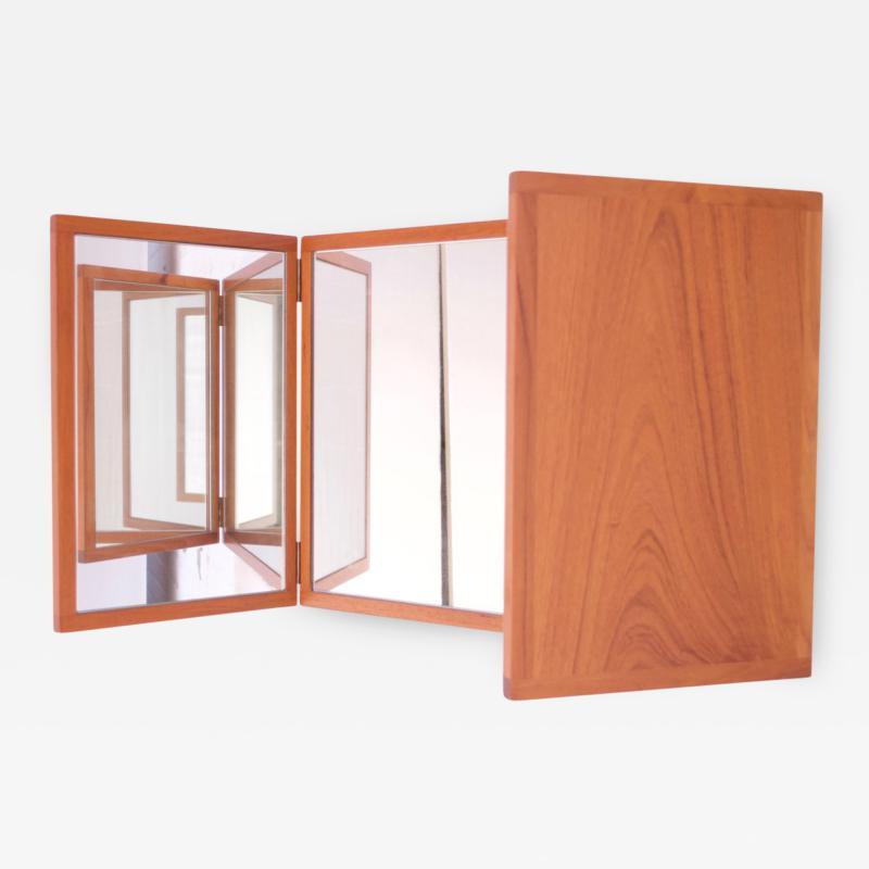 Kai Kristiansen Danish Teak Tri Fold Wall Mirror by Kai Kristiansen for Aksel Kjersgaard