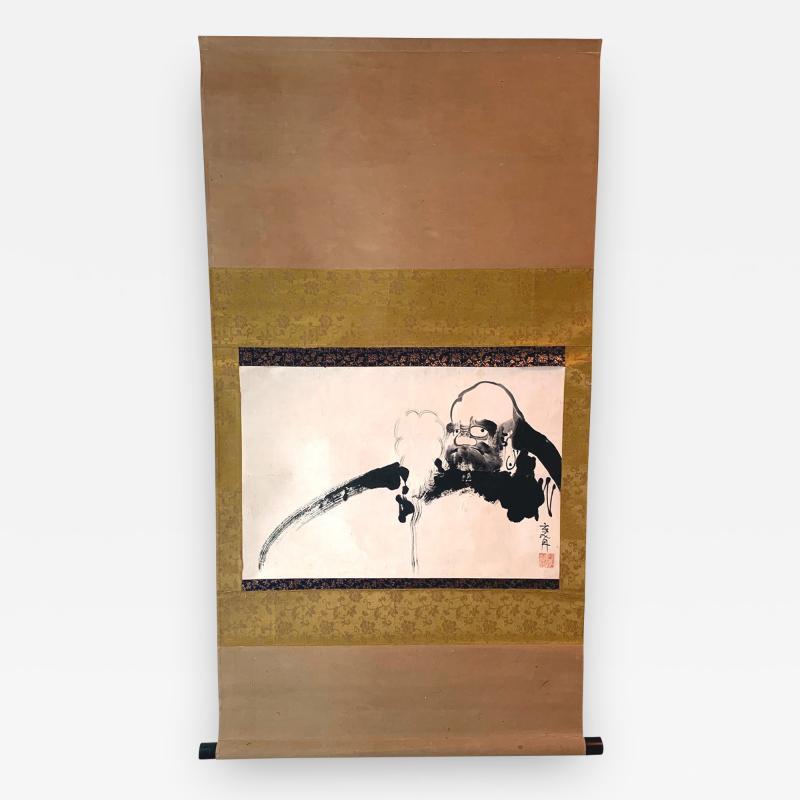 Kangetsu Shitomi Japanese Ink Painting Hanging Scroll of Daruma