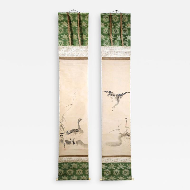 Kano Tanyu Pair of Japanese Ink Hanging Scrolls Kano Tanyu