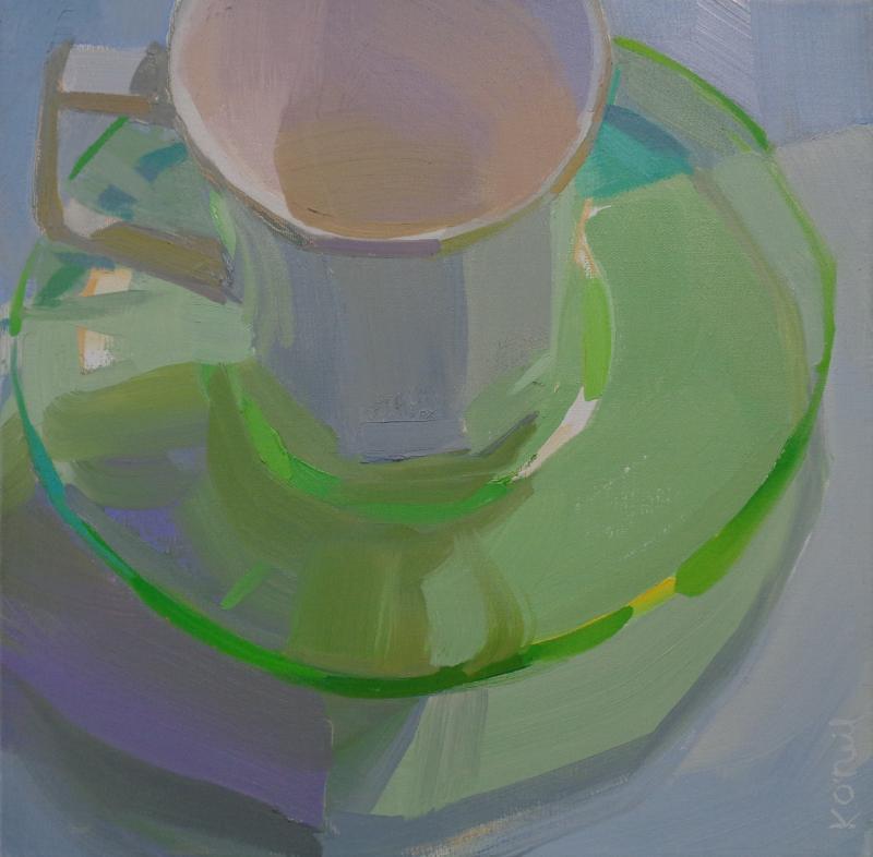Karen O Neil White Green Glass