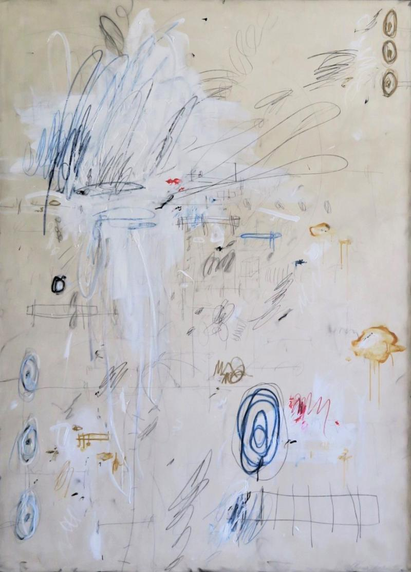 Karina Gentinetta Much Ado Oversized Acrylic Oil Pastels and Pencil Abstract Painting 7ftx5ft