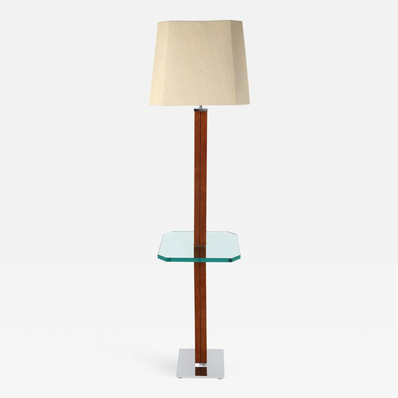 Karl Springer 1970s Karl Springer Chrome Suede and Glass Lamp Table