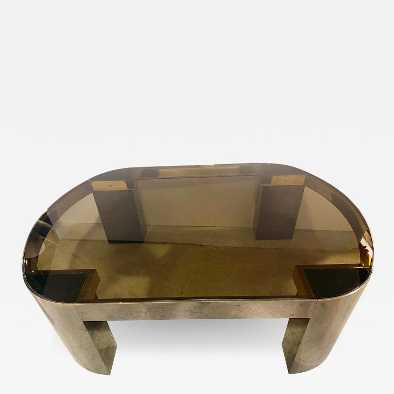 Karl Springer American Modern Gunmetal Brass Smoked Glass Cocktail Table Karl Springer