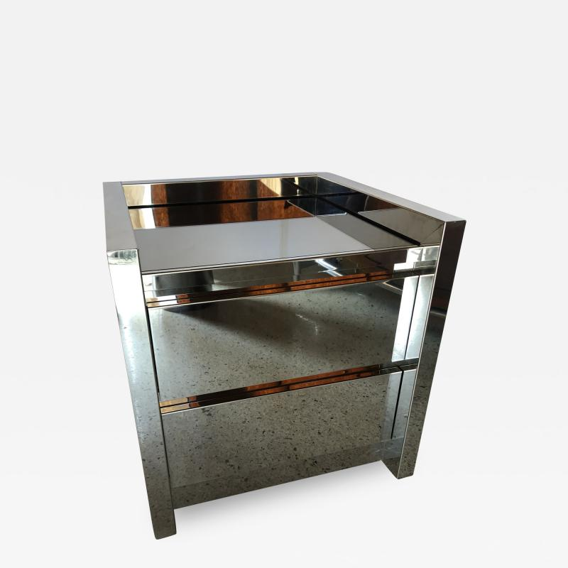 Karl Springer American Modern Highly Polished Stainless Steel Nightstand Karl Springer