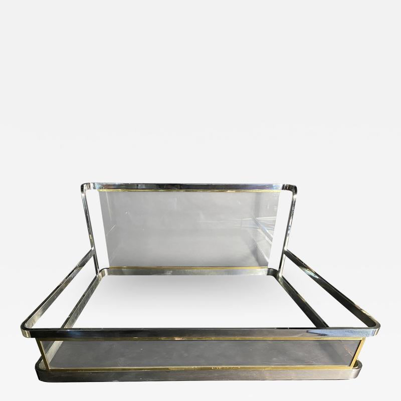 Karl Springer American Modern Unique Chrome Brass and Lucite King Bed Karl Springer