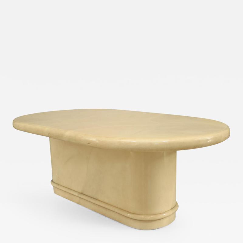 Karl Springer American Post War Design 1960s Sectional Parchment Veneer Dining Table