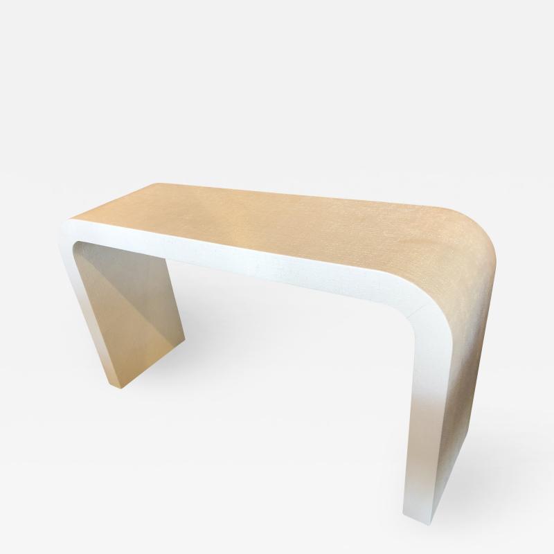 Karl Springer An American Modern White Murano Linen Console table Karl Springer