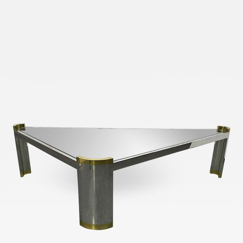 Karl Springer Chrome and Brass Triangular Coffee Table