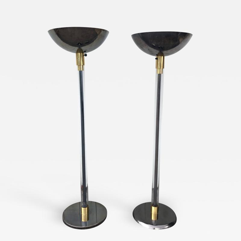 Karl Springer Complimentary Pair Karl Springer Lucite and Gun Metal Torchiere Floor Lamps