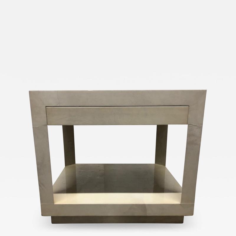 Karl Springer Goatskin Parchment Side Table by Karl Springer