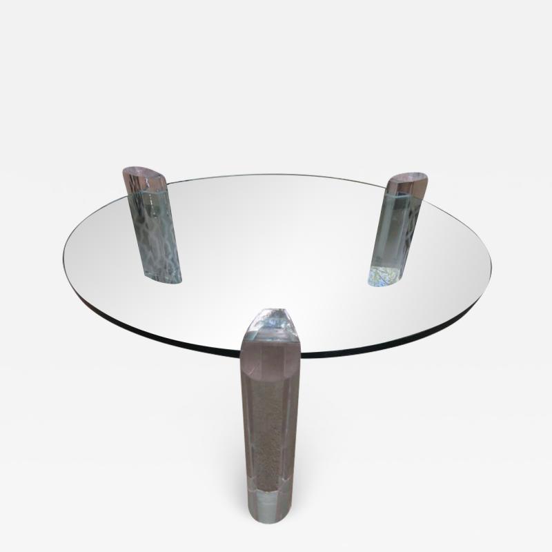 Karl Springer Gorgeous Karl Springer Style Lucite Column Round Coffee Table Mid Century Modern