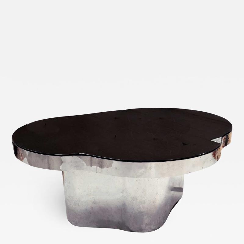 Karl Springer Important America Polished Steel Granite Free Form Dining Breakfast Table