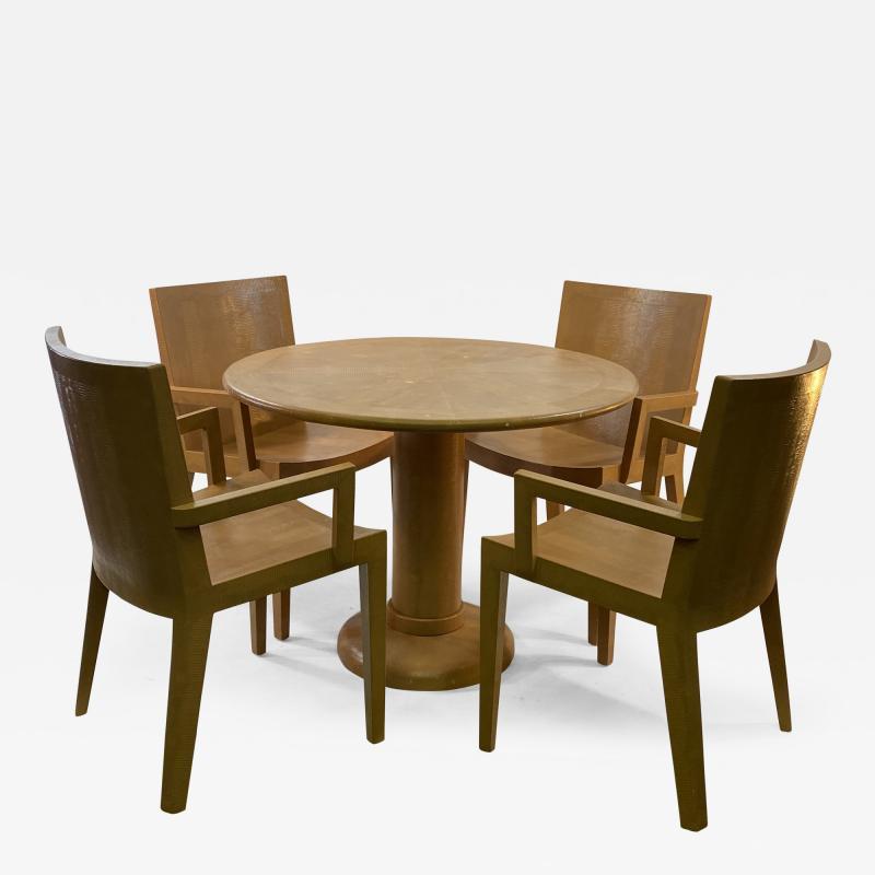 Karl Springer KARL SPRINGER JMK LIZARD EMBOSSED DINING TABLE AND CHAIRS