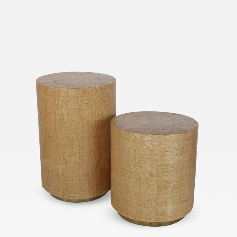 Karl Springer KARL SPRINGER STYLE MODERN GRASSCLOTH AND BRASS SIDE TABLES