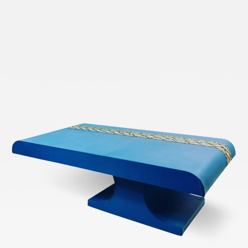 Karl Springer KARL SPRINGER STYLE PERIWINKLE BLUE LEATHER AND PYTHON COFFEE TABLE BENCH