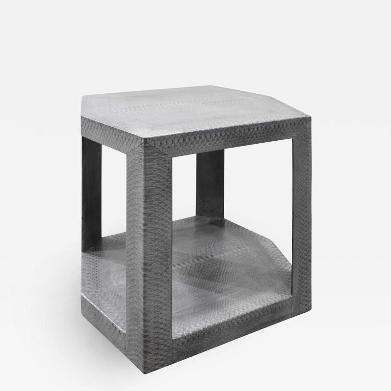 Karl Springer Karl Springer 2 Tier Hexagonal Side Table in Gray Cobra 1985 Signed
