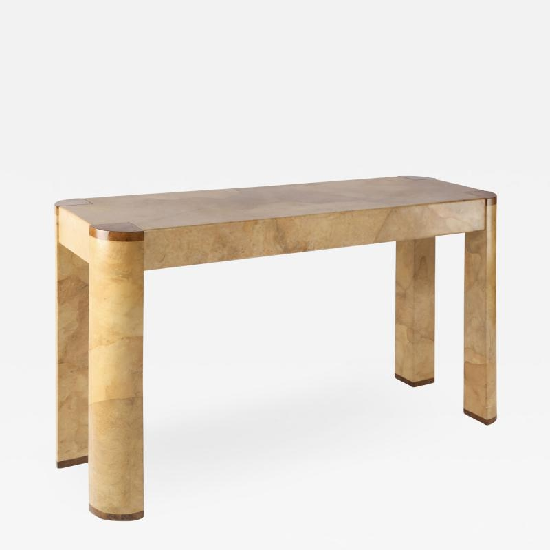 Karl Springer Karl Springer Angular Leg Console Table in Lacquered Goatskin 1970s Signed