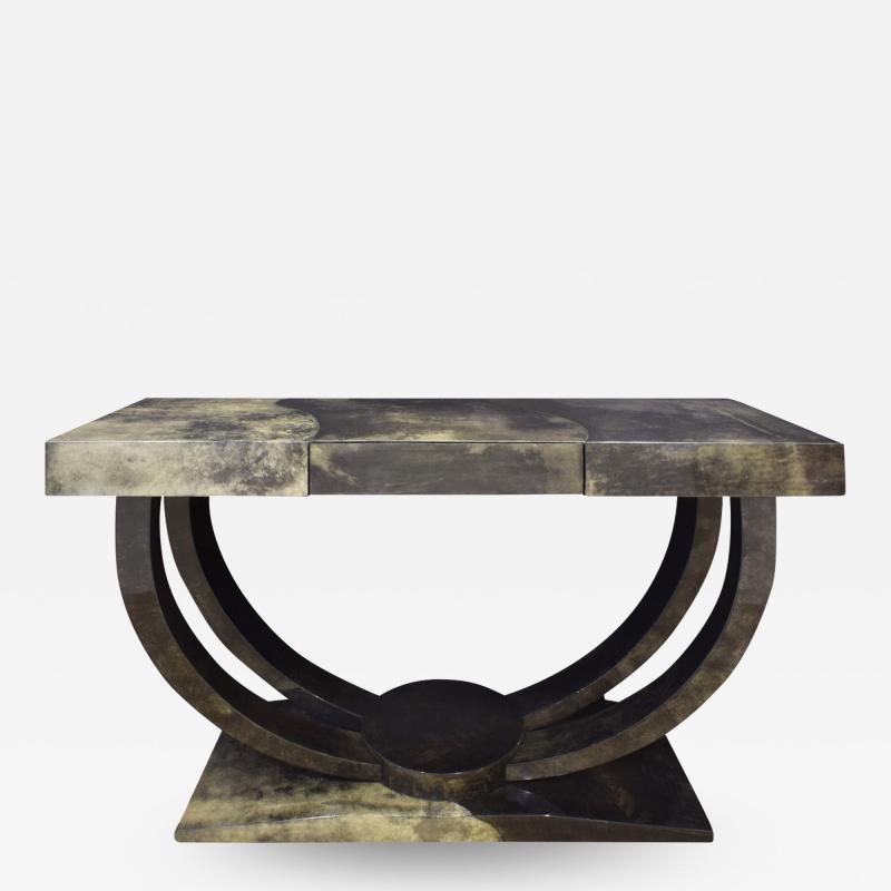Karl Springer Karl Springer Art Deco Console Table in Lacquered Goat Skin 1970s