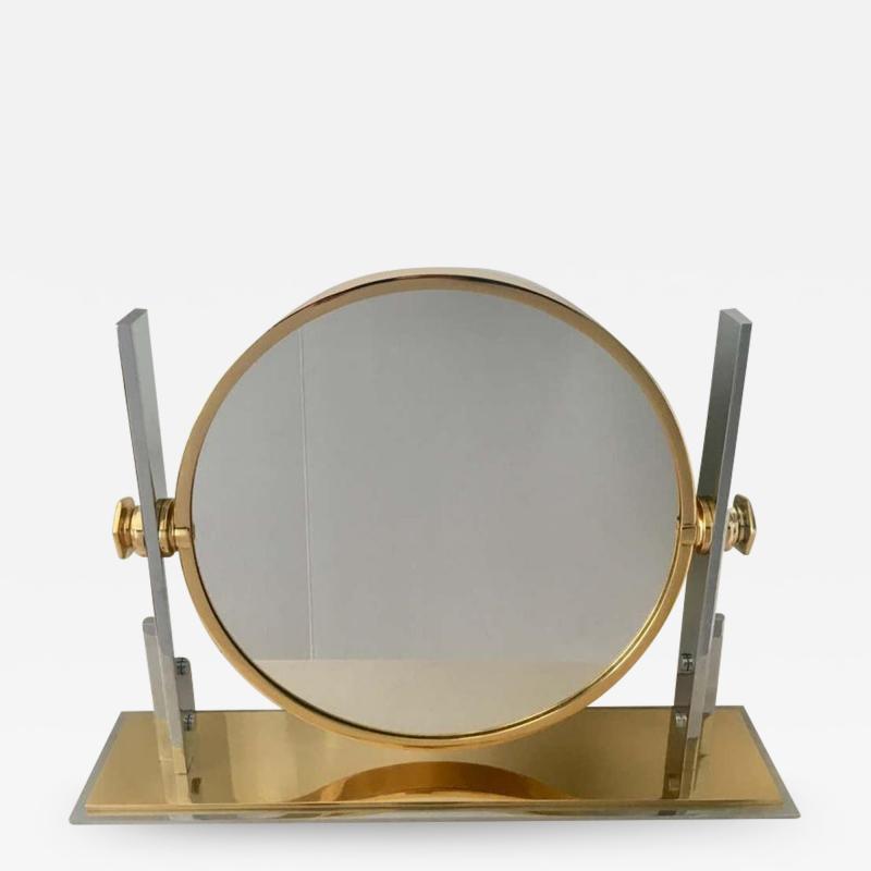 Karl Springer Karl Springer Brass and Chrome Table Mirror