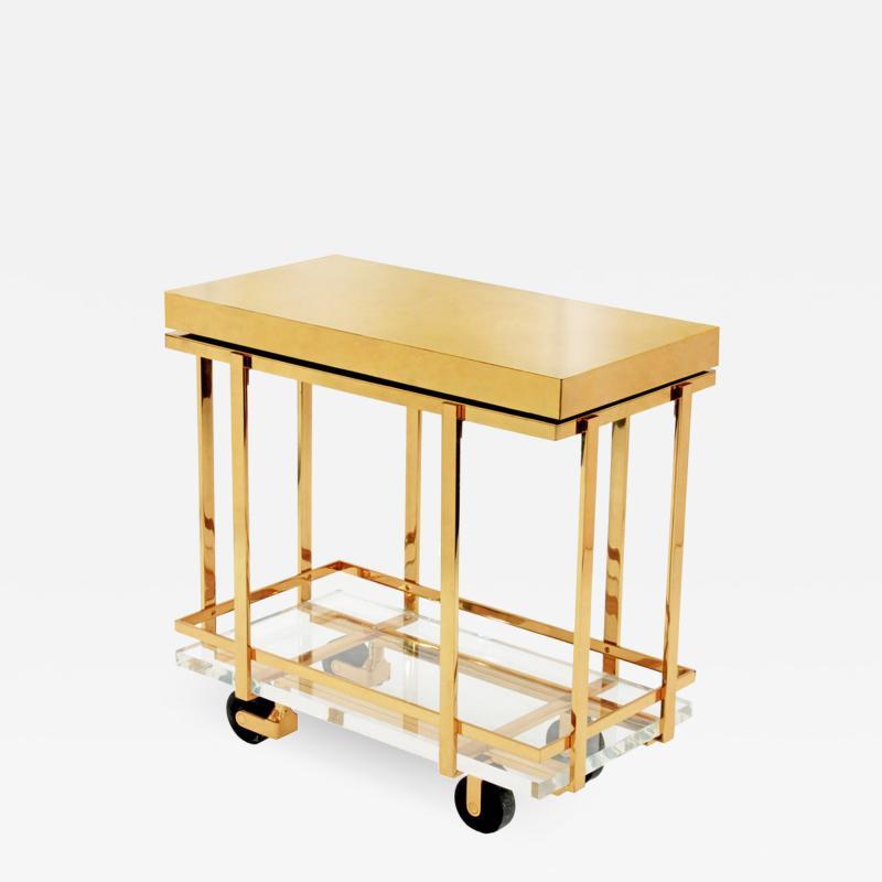 Karl Springer Karl Springer Brass and Lucite Bar Cart 1980s