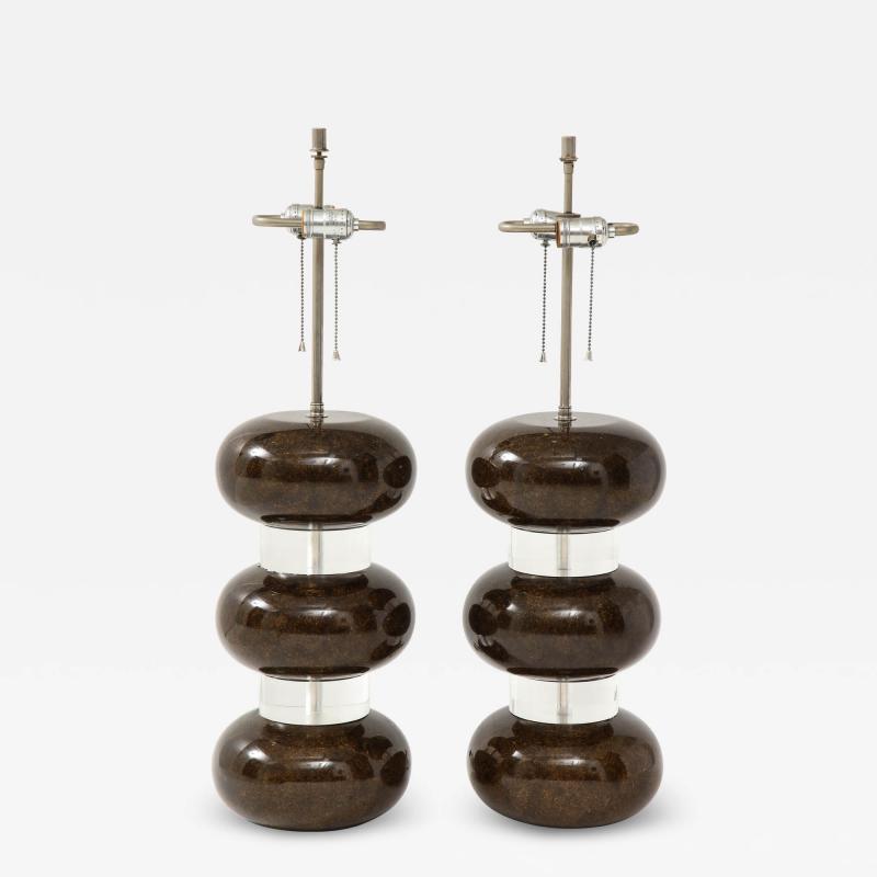 Karl Springer Karl Springer Clear and Marbleized Brown Bubble Lamps