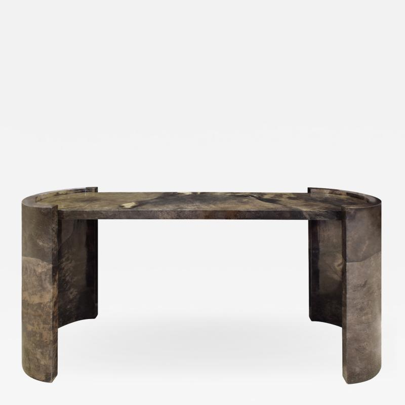 Karl Springer Karl Springer Console Table In Dark Brown Lacquered Goat Skin 1980