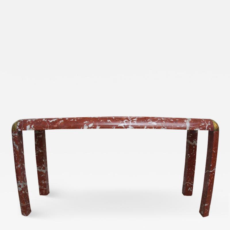 Karl Springer Karl Springer Console Table in Breccia Marble Brass and Smoke Glass
