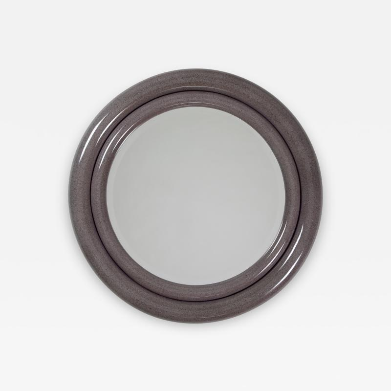 Karl Springer Karl Springer Double Bullseye Mirror in Faux Stone Lacquer circa 1980s