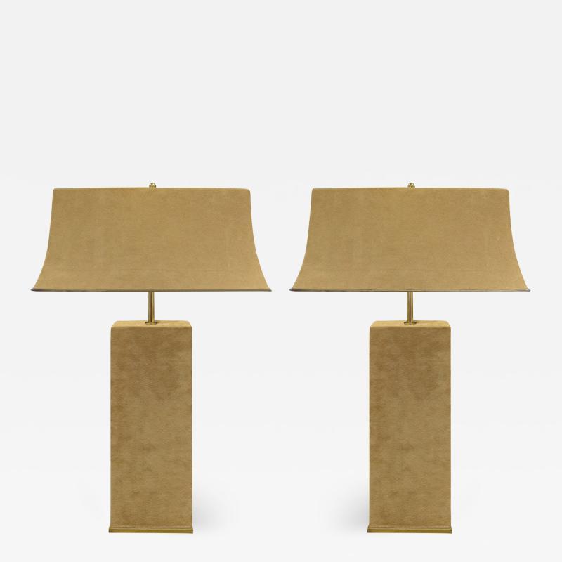 Karl Springer Karl Springer Elegant Pair Of Table Lamps In Brass And Beige Suede 1970s