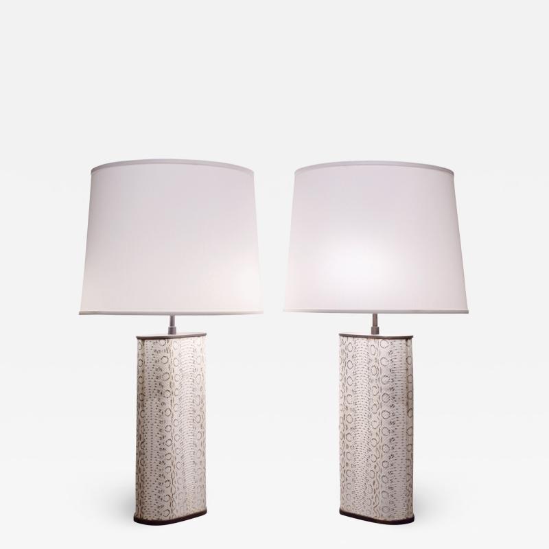 Karl Springer Karl Springer Exceptional Pair of Table Lamps in Bronze Covered in Boa 1970s