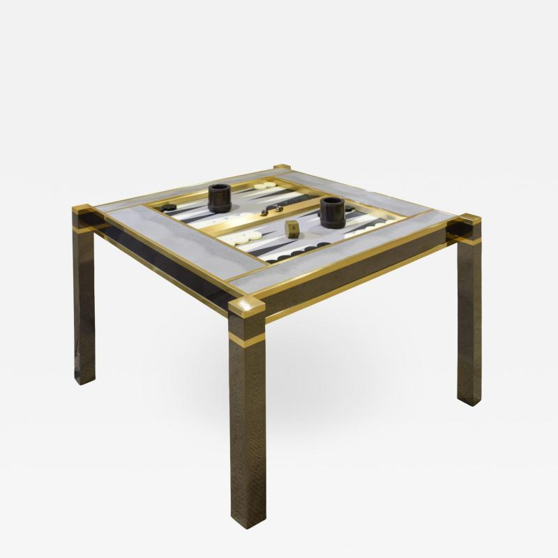 Karl Springer Karl Springer Incredible Square Leg Game Table in Gunmetal and Brass 1970s