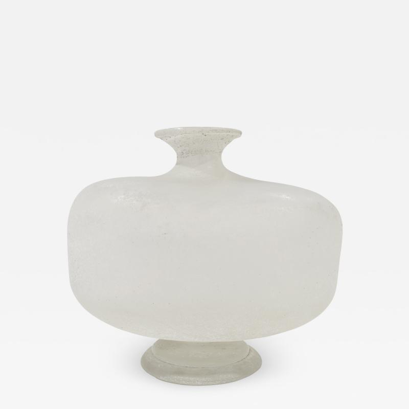 Karl Springer Karl Springer Large Hand Blown Scavo Glass Vase 1980s Signed